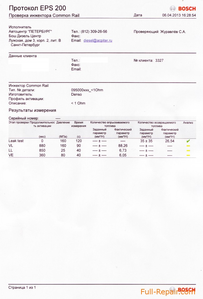 Проверка на стенде форсунки DENSO по тест-плану